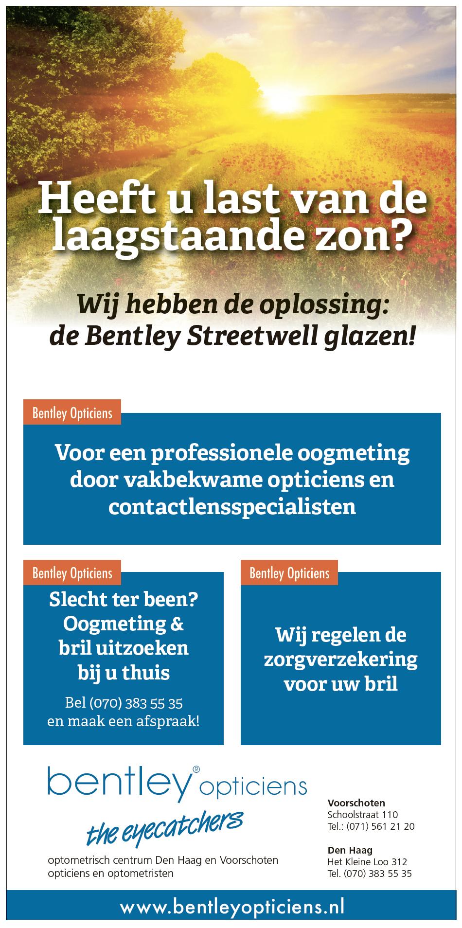Advertentie Bentley Opticiens